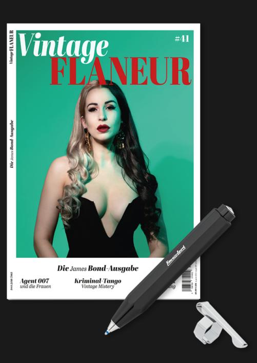 Vintage Flaneur Abo mit Kaweco Kugelschreiber Skyline Schwarz auf schwarz