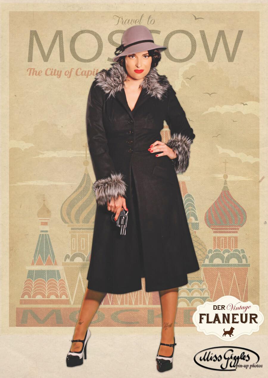 Frau im Vintagestil mit Hut