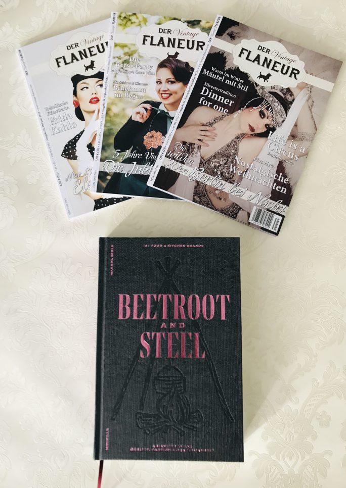 """3 Ausgaben des Vintage Flaneurs mit Buch """"Beetroot & Steel"""""""